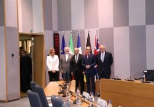 Die Außenminister Deutschlands, Frankreichs, Großbritanniens, Irans und die EU-Außenbeauftragte bei einem Treffen nach dem Ausstieg der USA aus dem JCPoA. Quelle: Tasnim-News